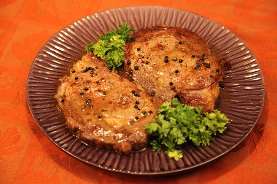 Rib Eye Peppercorn Steaks with Brandy Sauce