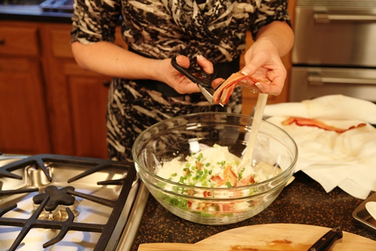 Adding bacon to Twice Baked Potato Casserole