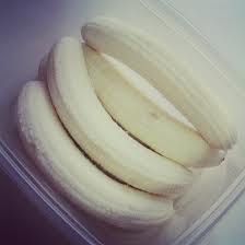 Peeled and frozen bananas