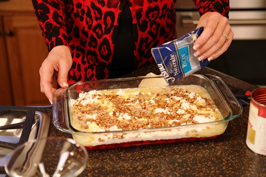 Sprinkle pecans onto Cherry Cake Pudding