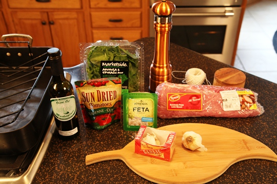 Stuffed and Studded Pork Loin Ingredients