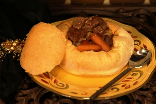 Beef Stew in Homemade Bread Bowl