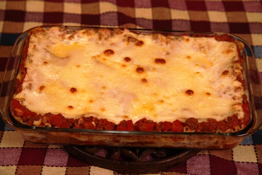 Lasagna hot out of the oven