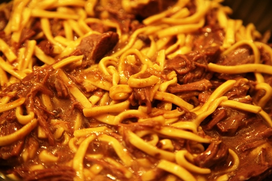 Beef and Noodles Close Up