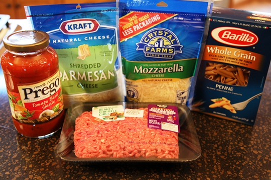 Ingredients for Italian Penne Pasta Bake