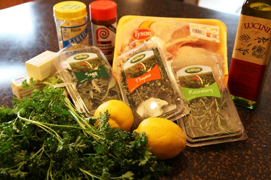 Ingredients for Parsley Sage Rosemary and Thyme Roasted Chicken Breasts