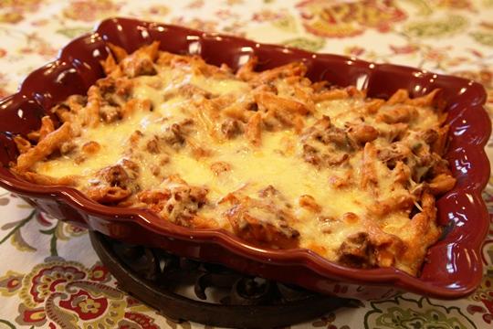 Italian Penne Pasta Baked in Casserole