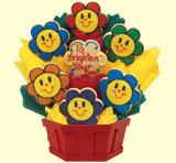 Smiling Faces Daisies Cookie Bouquet