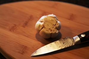 Cut Top Off of Garlic