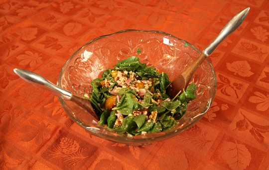 Spinach Salad with Raspberry Dressing