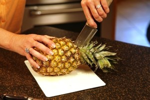 Cutting a Pineapple Boat