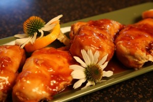 Garnished Crockpot Orange Chicken Recipe