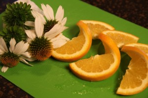 Fruit and Flower Garnishes for Crockpot Orange Chicken Recipe