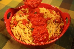 Vickie's Quick Marinara Sauce Served Over One Pot Pasta