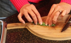 Roll the Fresh Basil Leaves Into a Tight Cylinder