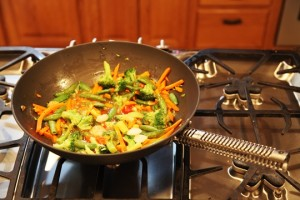 Stir Fry Vegetables Cooking in ManPans Wok