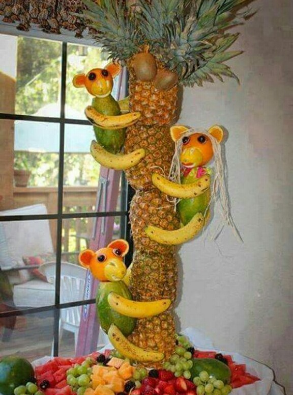 Monkey Pineapple Palm Tree Centerpiece