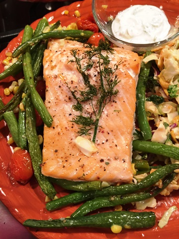 Roasted Salmon and Succotash